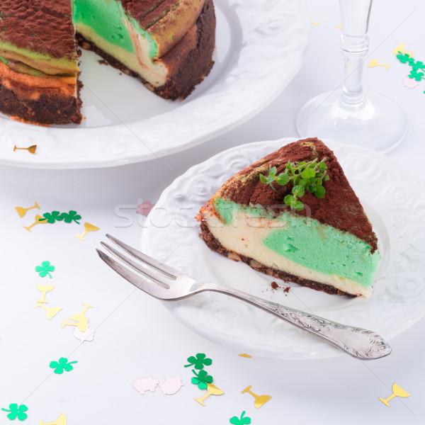 Borsmenta torta buli születésnap étterem tej Stock fotó © Dar1930