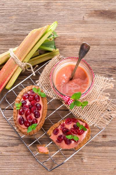 Rabarber vruchten groene plaat eten Stockfoto © Dar1930