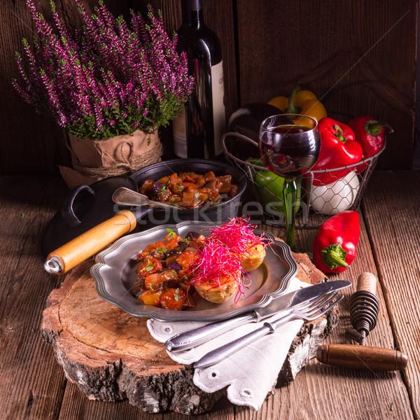 Sült krumpli cékla étel konyha vacsora Stock fotó © Dar1930