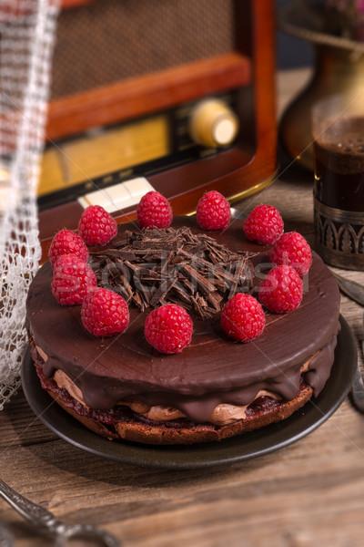 chocolate cake and Turkish coffee - vintage style Stock photo © Dar1930