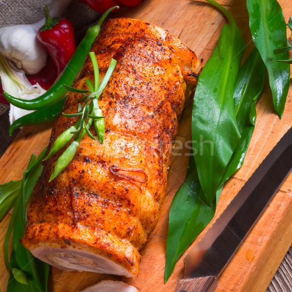Carne tener relleno primavera alimentos madera Foto stock © Dar1930
