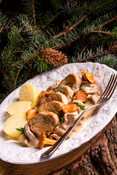 Krumpli disznóhús mártás étel asztal főzés Stock fotó © Dar1930