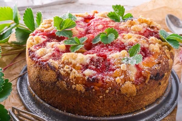 Truskawki ciasto tle czerwony tablicy gotowania Zdjęcia stock © Dar1930