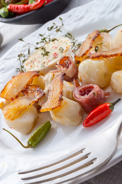 Jerusalem artichoke au gratin with ham and chili Stock photo © Dar1930