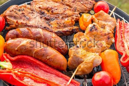 ızgara sosis parti duman akşam yemeği pişirme Stok fotoğraf © Dar1930
