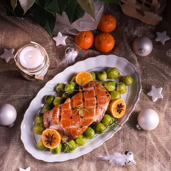 Christmas diner Brussel oranje saus voedsel Stockfoto © Dar1930