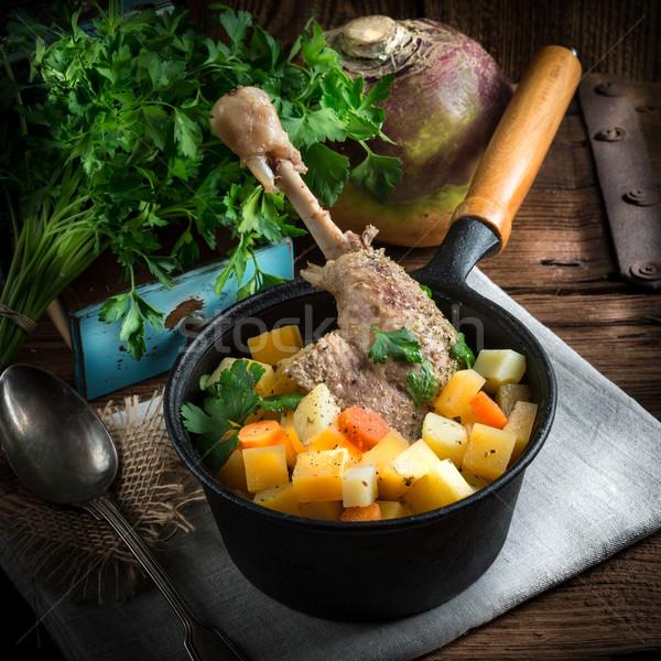 Stok fotoğraf: Kaz · çorba · mutfak · yeşil · plaka