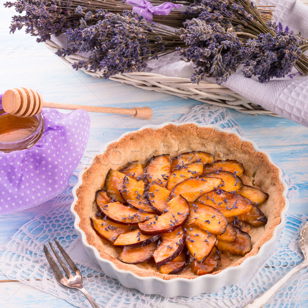 Nectarine tarte with lavender and honey Stock photo © Dar1930