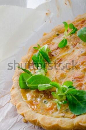 Cebolla tarta hoja huevo cocina cena Foto stock © Dar1930
