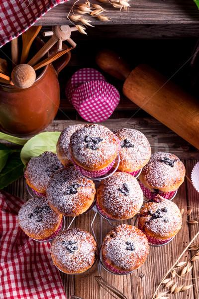 Mirtilli muffins sfondo tavola blu pane Foto d'archivio © Dar1930