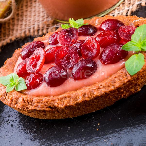 Rabarbar żurawina owoców zielone tablicy jedzenie Zdjęcia stock © Dar1930