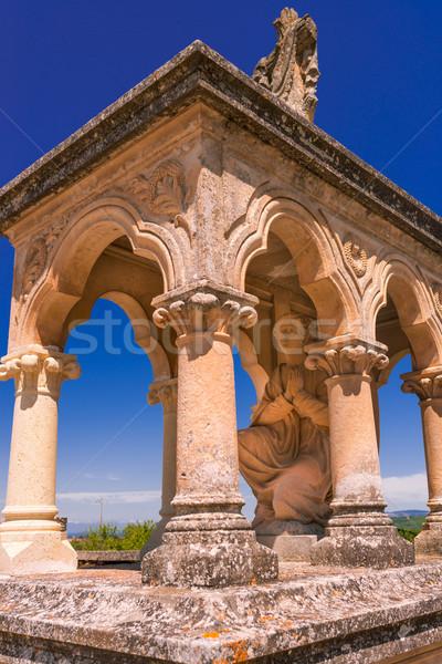 кладбище пейзаж крест Церкви печально каменные Сток-фото © Dar1930