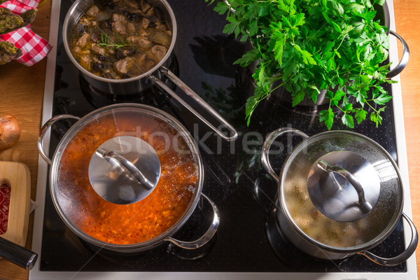 cooking pots on the stove Stock photo © Dar1930