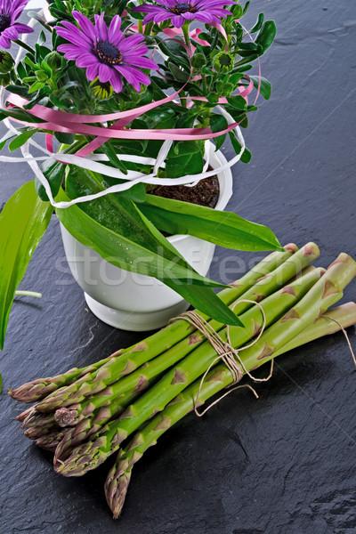 Stockfoto: Asperges · madeliefjes · voedsel · Blauw · plant · groenten