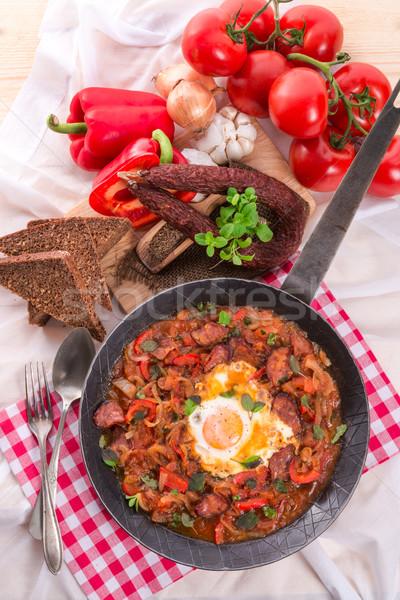 Comida ovo ovos café da manhã tomates cozinhar Foto stock © Dar1930