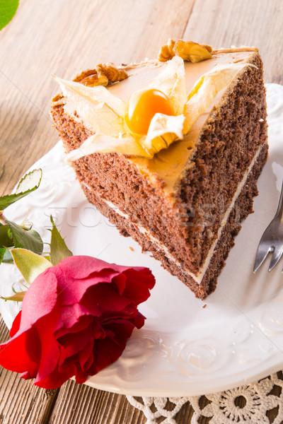 Torta rose amore luce foglia cioccolato Foto d'archivio © Dar1930