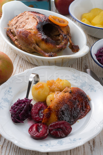 Stock photo:  duck with dumplings and pickled plum