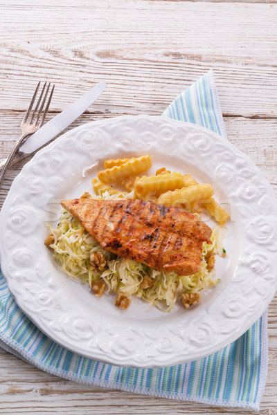 grilled chicken, cabbage salad with nuts and chips Stock photo © Dar1930
