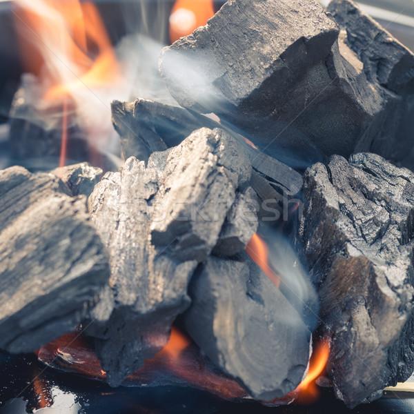 Stockfoto: Brandend · houtskool · brand · hout · achtergrond · rook