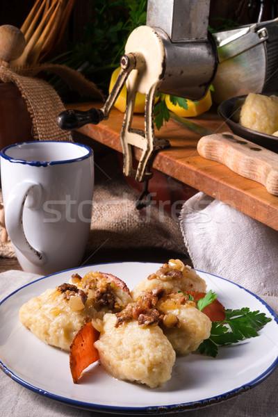 Stock photo: szare kluski - Polish potato dumplings