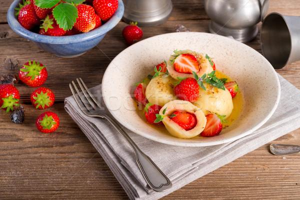 Eprek étel gyümölcs nyár vacsora eper Stock fotó © Dar1930