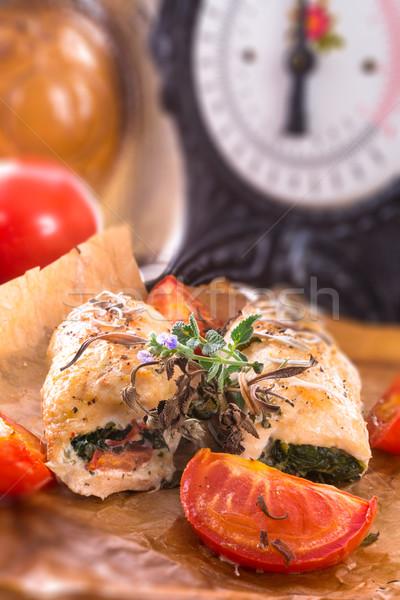 鶏の胸肉 ほうれん草 トマト ハーブ 食品 ストックフォト © Dar1930