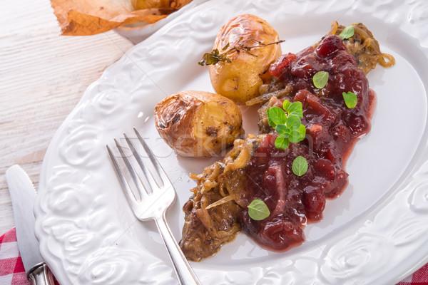 Hígado cocción papa restaurante pollo Foto stock © Dar1930