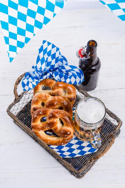 homemade pretzels and bavarian beer Stock photo © Dar1930