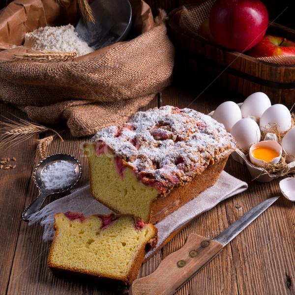 Levedura bolo comida café aniversário prato Foto stock © Dar1930
