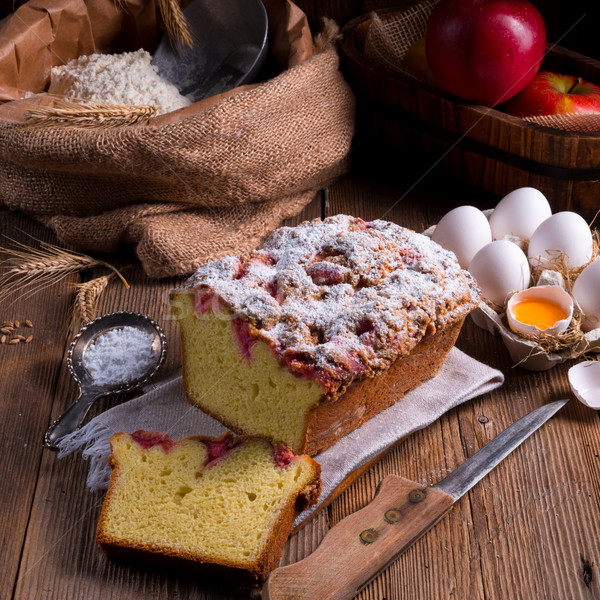 Levadura torta alimentos café cumpleanos placa Foto stock © Dar1930