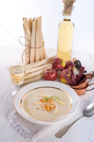 Espárragos sopa manzana cubos alimentos vino Foto stock © Dar1930