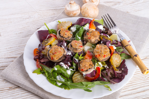 Grilled stuffed MUSHROOMS with colourful salad Stock photo © Dar1930