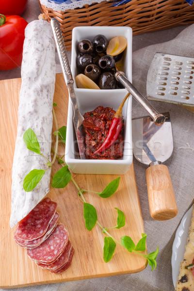 Salami antipasti alimentos cocina pan cena Foto stock © Dar1930