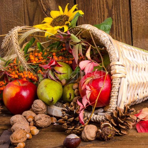 рог изобилия яблоко фон оранжевый листьев красный Сток-фото © Dar1930
