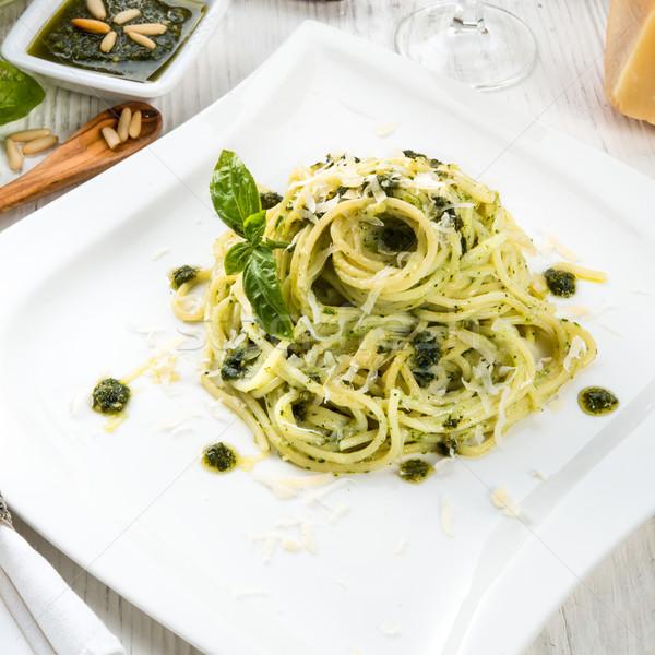 Pasta pesto hoja cena de oliva cocina Foto stock © Dar1930