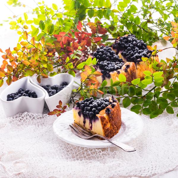 チーズケーキ ブルーベリー 食品 フルーツ 背景 レストラン ストックフォト © Dar1930
