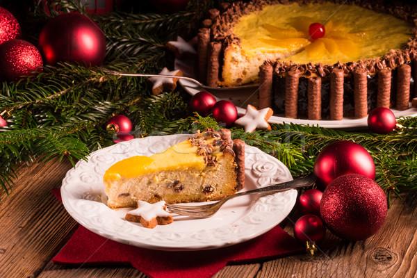 チョコレート オレンジ チーズケーキ ホーム 赤 花火 ストックフォト © Dar1930