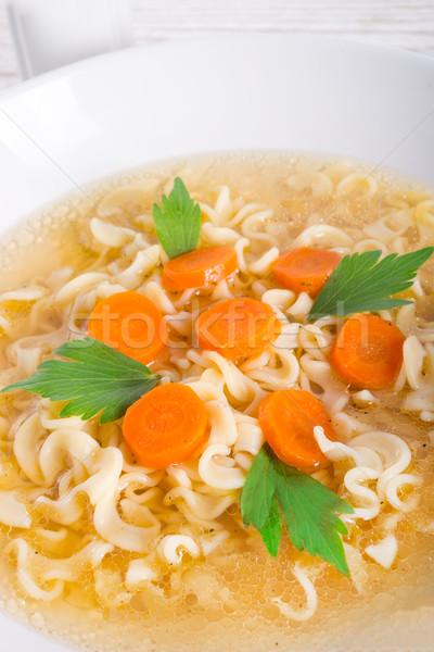 ヌードル スープ ワイン 木材 ガラス 鶏 ストックフォト © Dar1930