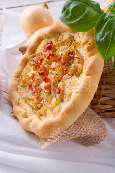Onion tart and Federweisser(Nouveau) Stock photo © Dar1930