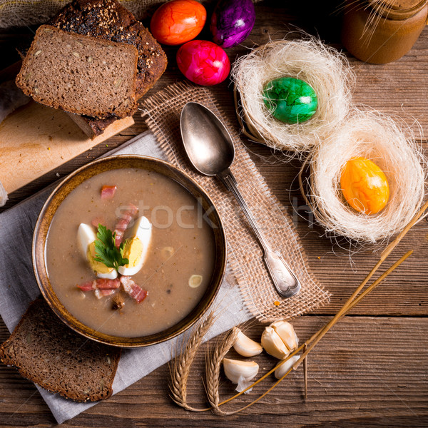 Segale zuppa Pasqua cucina tavola Foto d'archivio © Dar1930