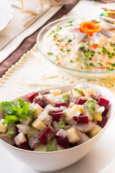 Herring salad with beetroot Stock photo © Dar1930