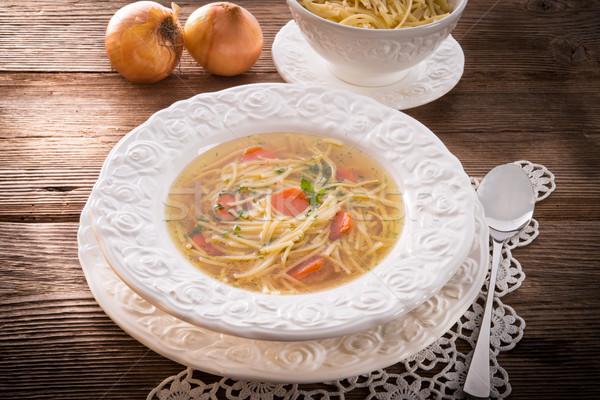 Tészta leves marhahús húsleves asztal tányér Stock fotó © Dar1930