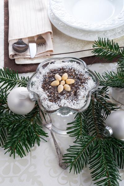 фрукты торт молоко мяча пластина черный Сток-фото © Dar1930