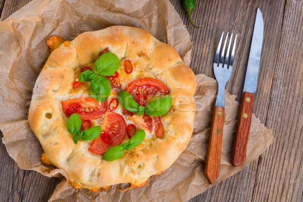 Pizza groene kaas vlees witte hot Stockfoto © Dar1930