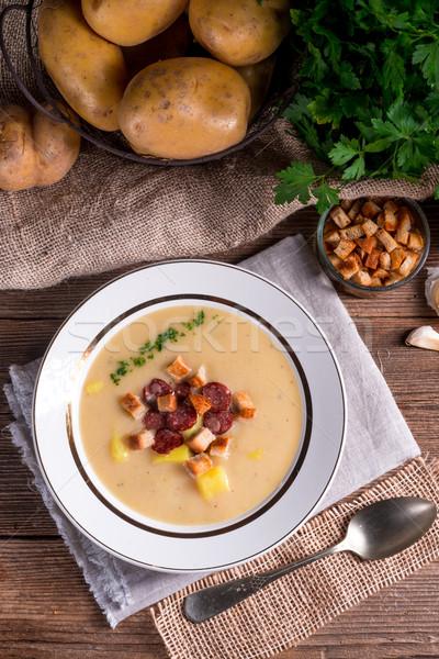 Patates Çorbası sağlık Retro bağbozumu öğle yemeği çorba Stok fotoğraf © Dar1930