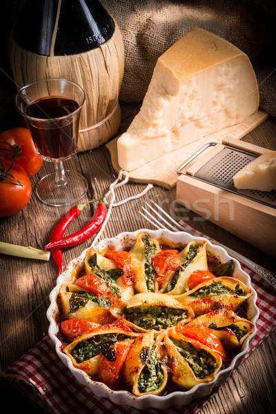 Vin bois fond espace vert pâtes Photo stock © Dar1930