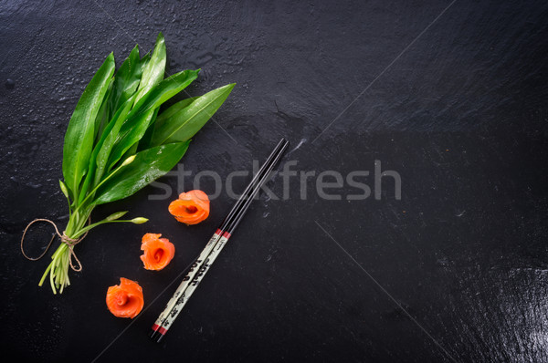 Bear allium with smoking salmon  Stock photo © Dar1930