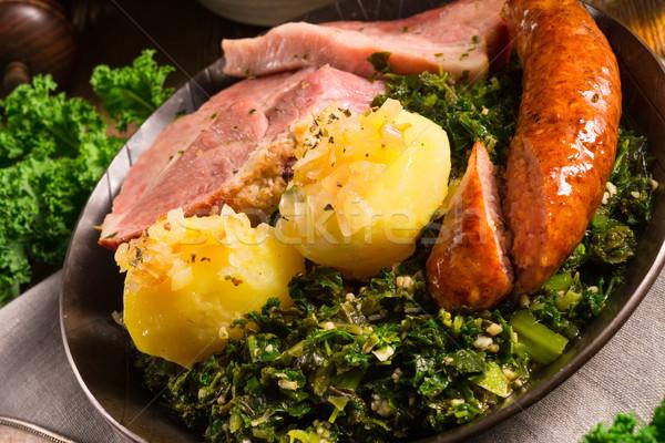 Stok fotoğraf: Gıda · yeşil · kış · yaprakları · akşam · yemeği · pişirmek