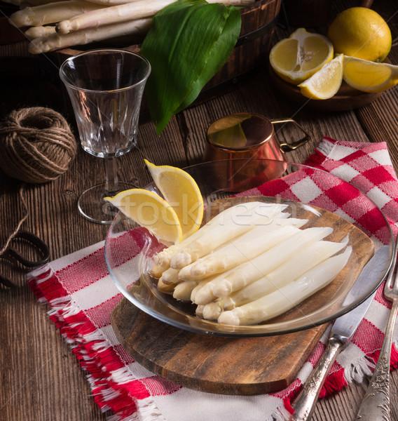Fehér spárga felszolgált mártás vacsora reggeli Stock fotó © Dar1930