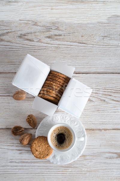 Kása kekszek csoport búza tányér eszik Stock fotó © Dar1930